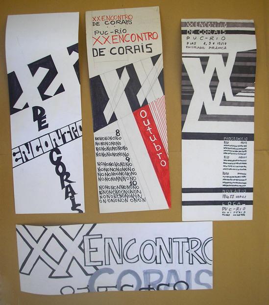 Estudos de layout dos cartazes